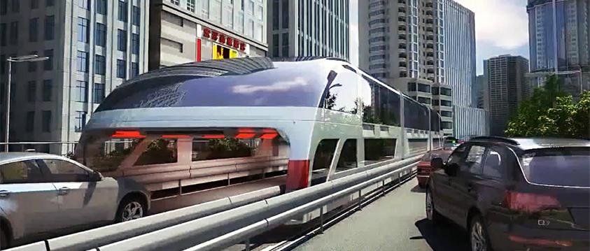 Ingenioso bus chino anda sobre los autos y promete solucionar los tacos