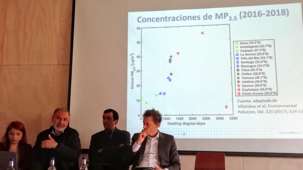 investigador hector jorquera mostrando grafico de concentraciones de MP2.5